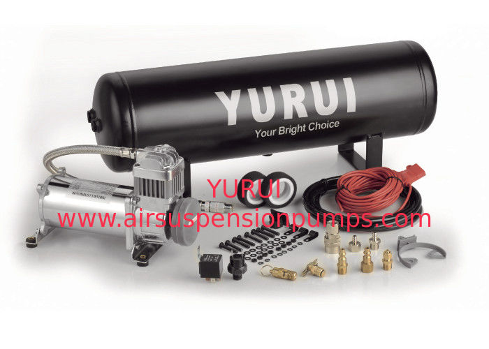 Black And Silver Steel Onboard Air Systems Air Compressor With Tank 12V For Car Tuning