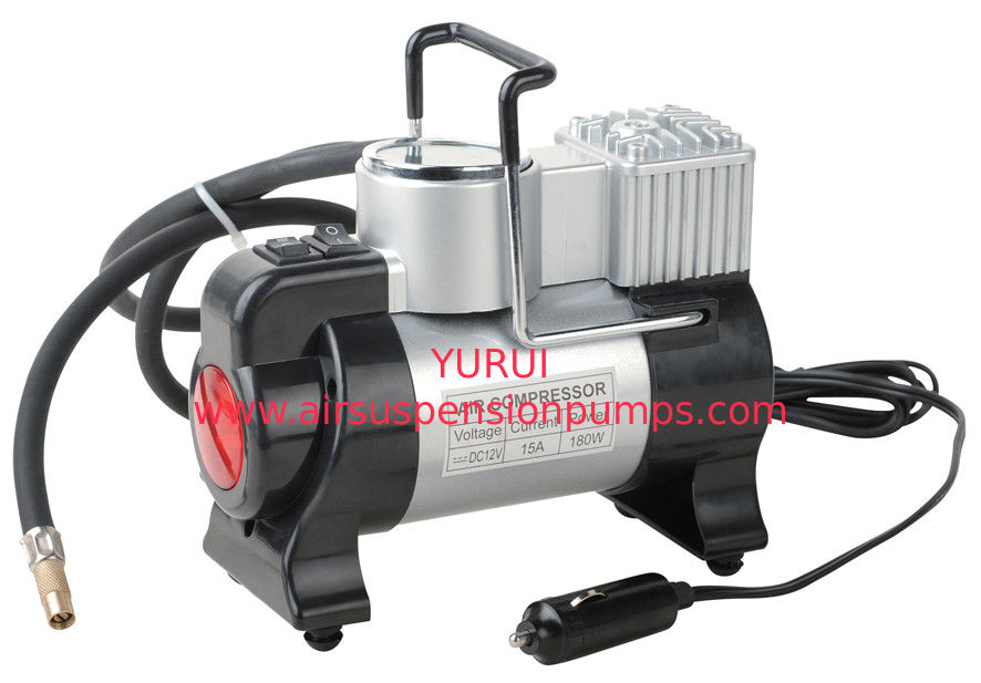 Silver and Black Metal Air Compressor For Car Inflation With Led Light
